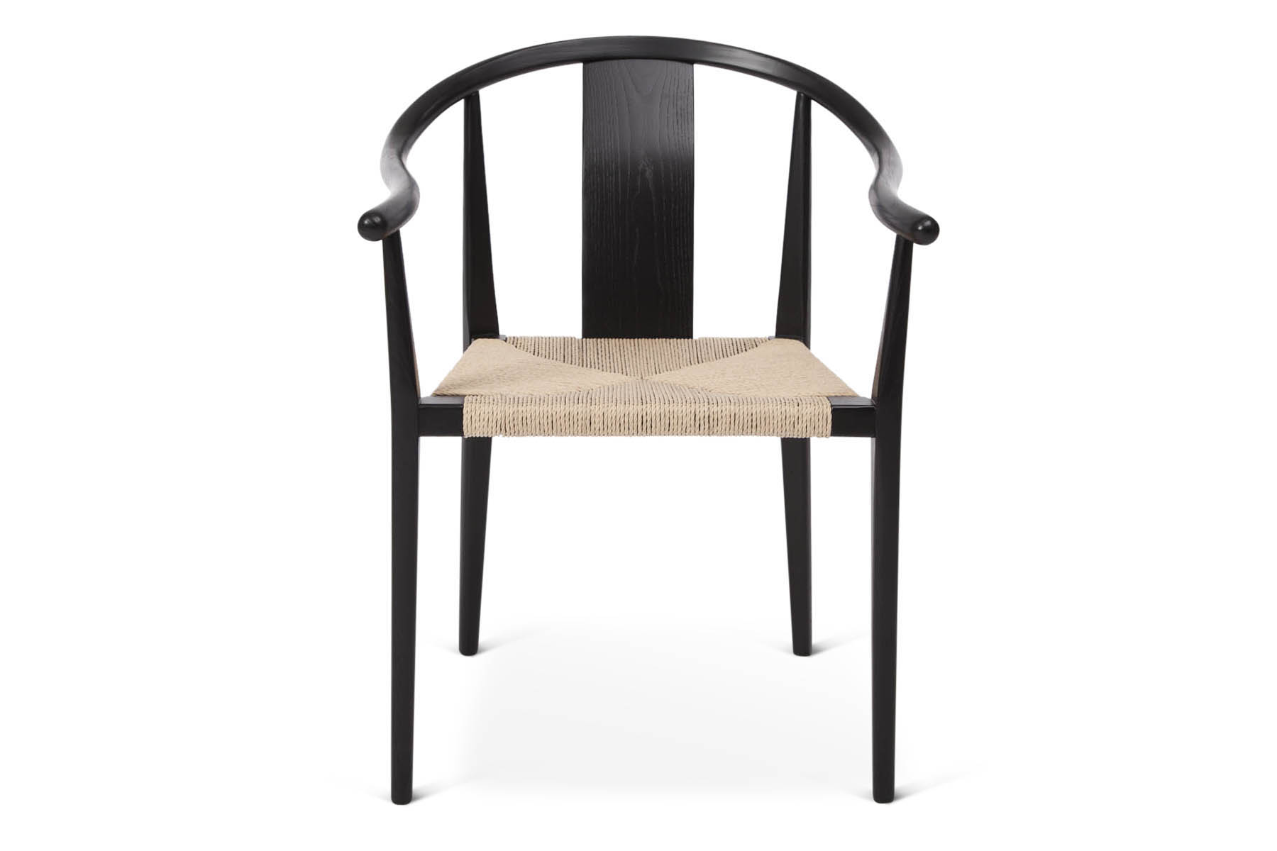 Shanghai Dining Chair, Papercord, Black_Natural, Front.jpg